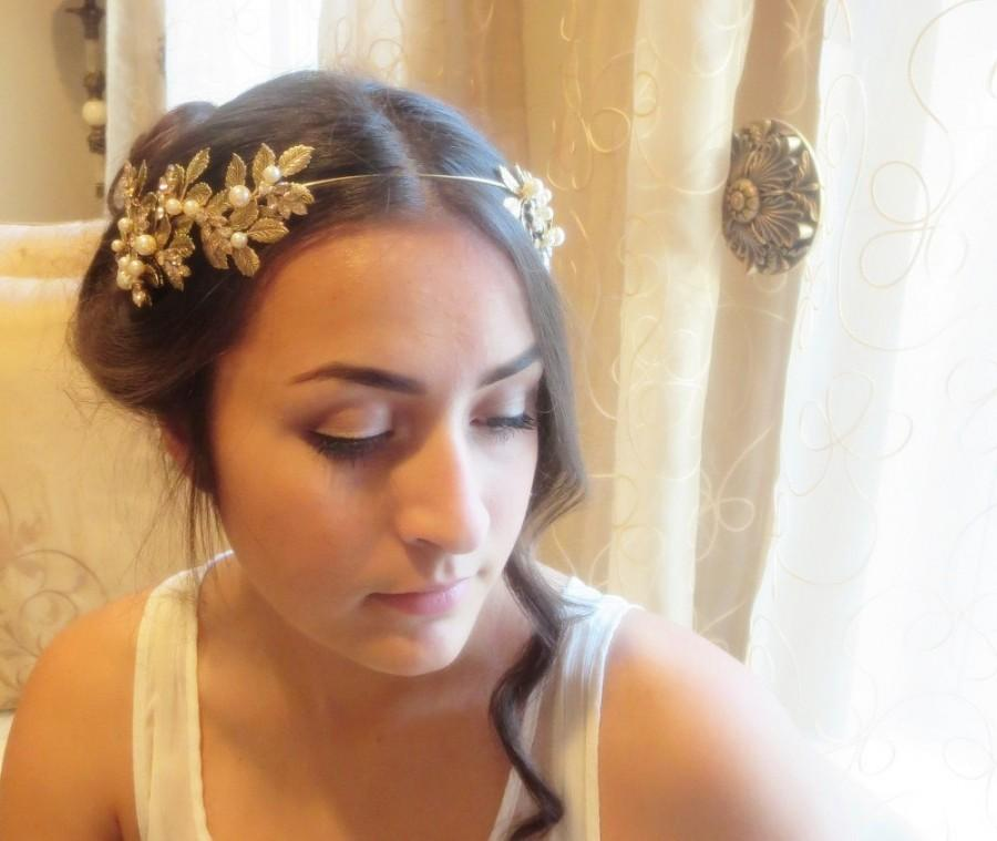 Свадьба - Wedding headpiece, Bridal tiara, Wedding headband, Swarovski crystal headpiece, Antique brass leaves headband, Grecian head crown, Vintage