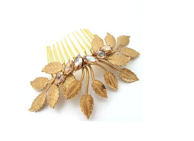 Свадьба - Gold leaf comb large wedding bridal hair comb wedding hair accessories