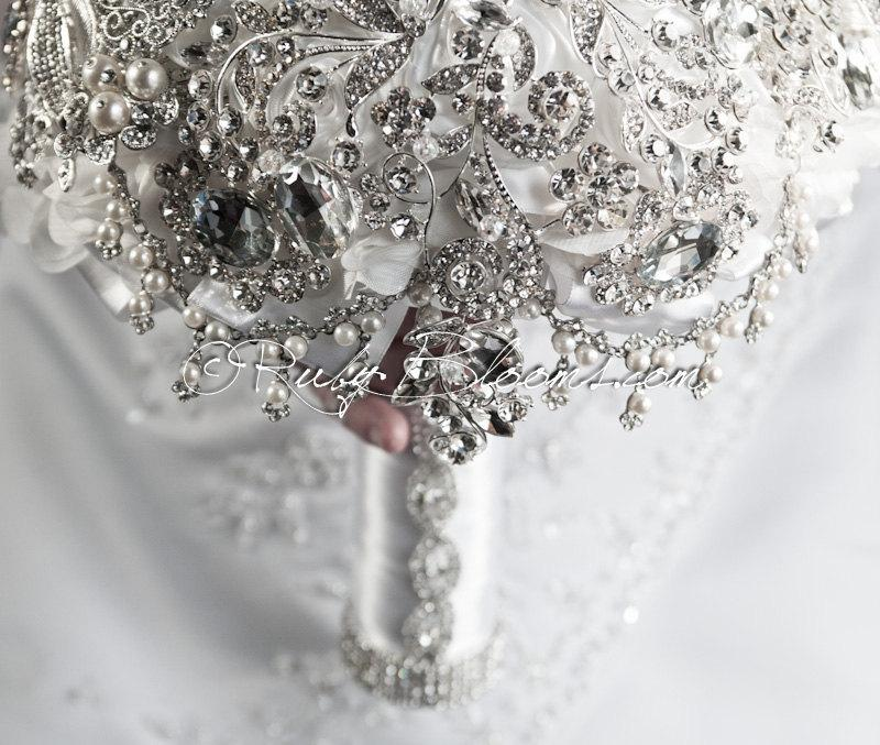 Свадьба - Brooch Bouquet, Broach Bouquet, Wedding Bouquet, Bridal Bouquet, Heirloom Bouquet, Silver White Bouquet, Wedding, Wedding Brooch Bouquet