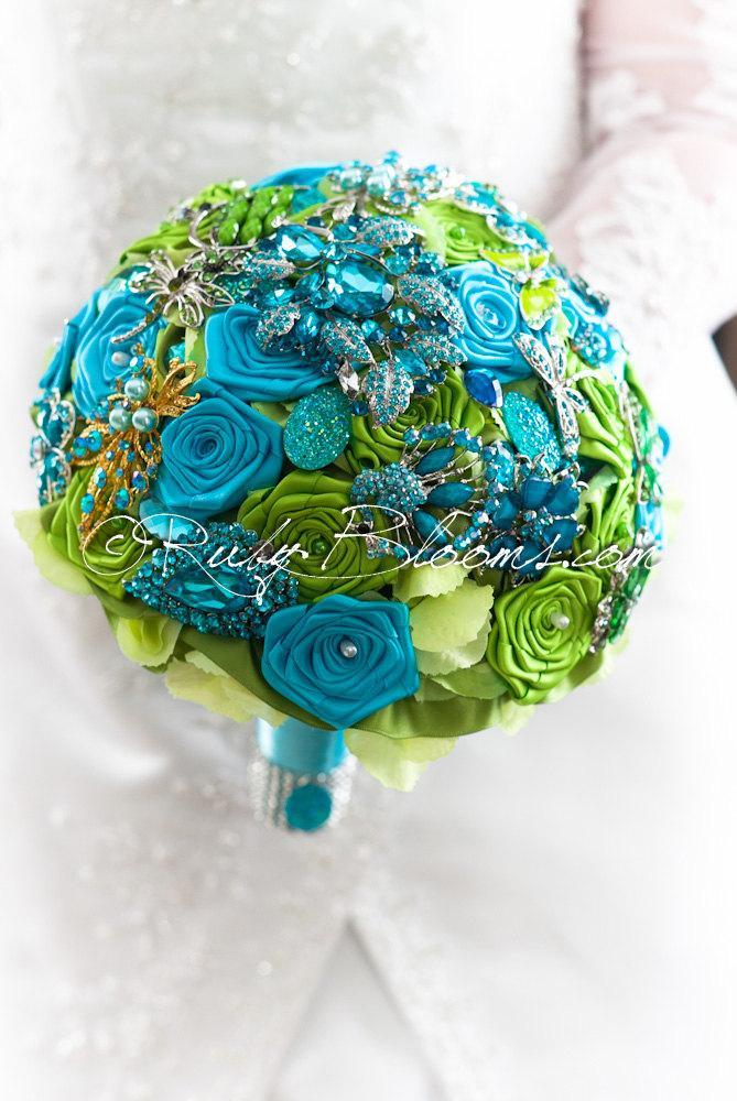 """Blue And Green Wedding Brooch Bouquet. Deposit – """"Caribbean Azure ..."""