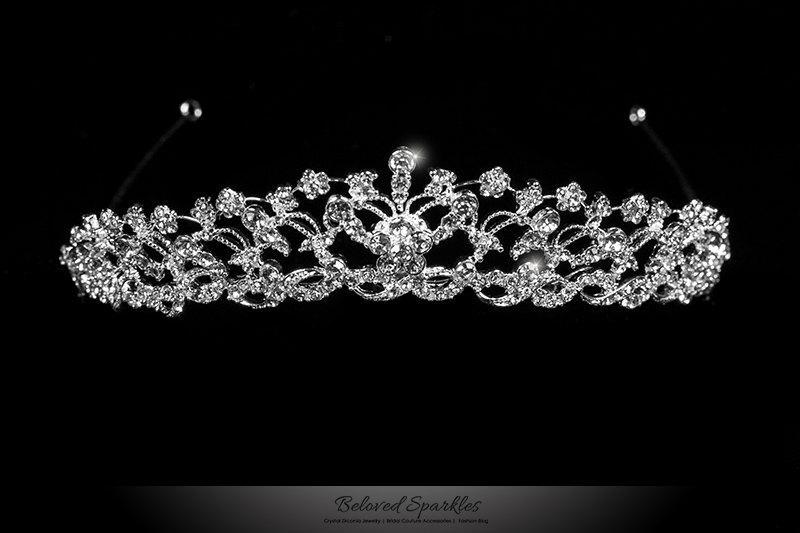 زفاف - Vintage VictorianFringe Swarovski Crystal Tiara, Royal Floral Cluster Crystal Tiara, Bridal Wedding Tiara, Reign Tiara, Quinceanera Tiara