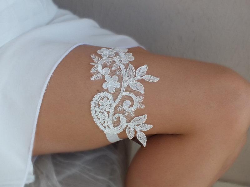 Свадьба - Unique  ivory  wedding garter  lace  garter , Wedding Garter,  garters, ivory lace Garter, Free Ship