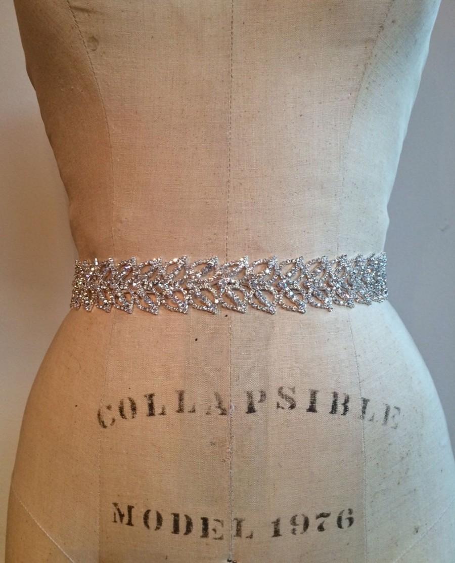 Mariage - Art Deco Beaded Bridal Sash Belt-Glamarous Crystal Rhinestone Bridal Sash-1920's Crystal Rhinestone Bridal Belt-Beaded Bridal Sash / Belt