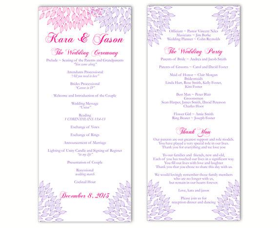 "Wedding - Wedding Program Template DIY Editable Text Word File Download Program Purple Program Pink Floral Program Printable Wedding Program 4""x9.25"""
