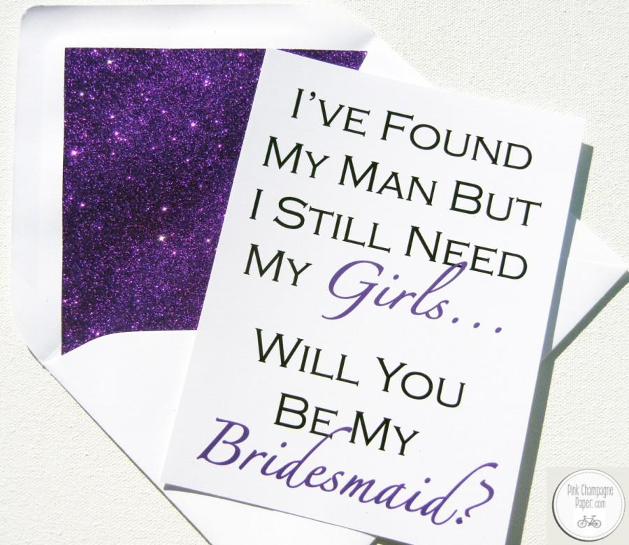 Mariage - Be My Bridesmaid Card // Purple Glitter Liner // White Envelope