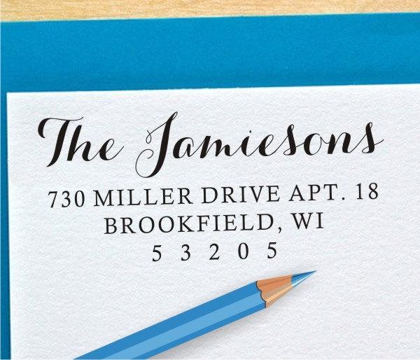 زفاف - Custom Return Address Stamp - Self Inking or Wood Handled Custom Address Rubber Stamp (042)