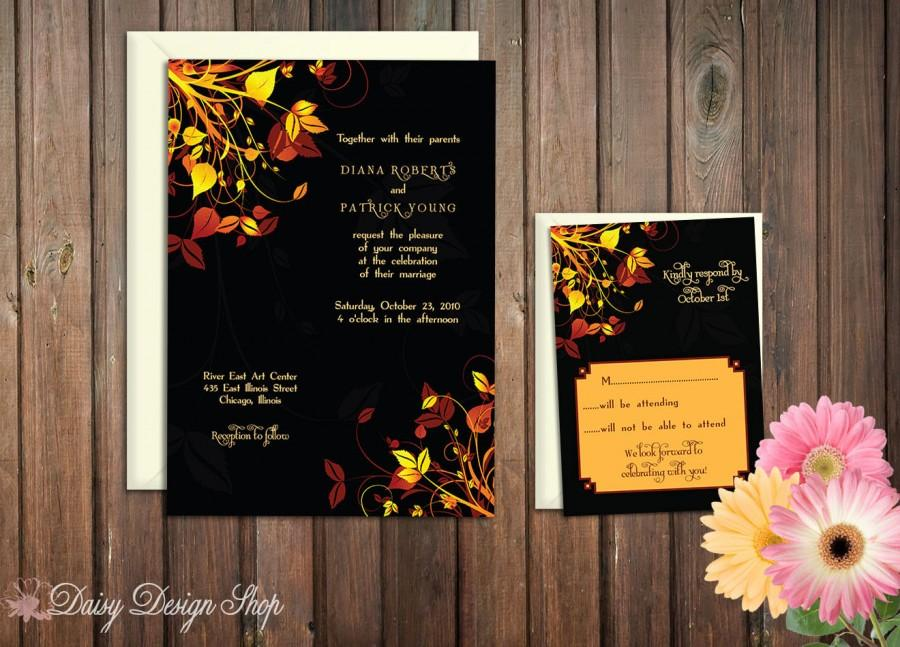 Mariage - Wedding Invitation - Autumn Leaves in Deep Brown, Orange, and Yellow - Invitation and RSVP Card with Envelopes