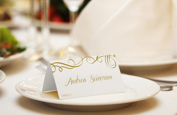 Mariage - Seating / Place Card Template - DOWNLOAD INSTANTLY - Editable Text- Elegant Swirls (Gold) Foldover - Microsoft® Word Format (docx)