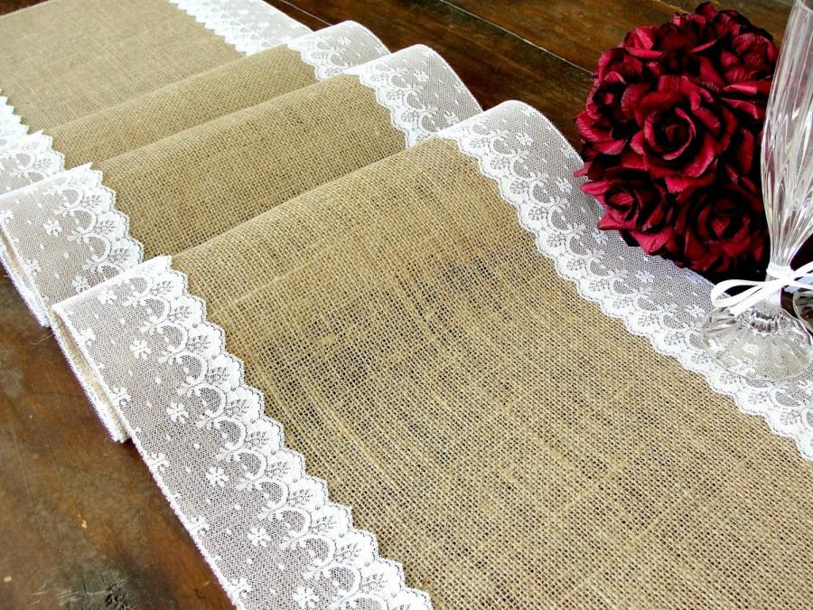 Hochzeit - Burlap table runner wedding table runner with white Italian lace rustic chic  wedding table decor , handmade in the USA