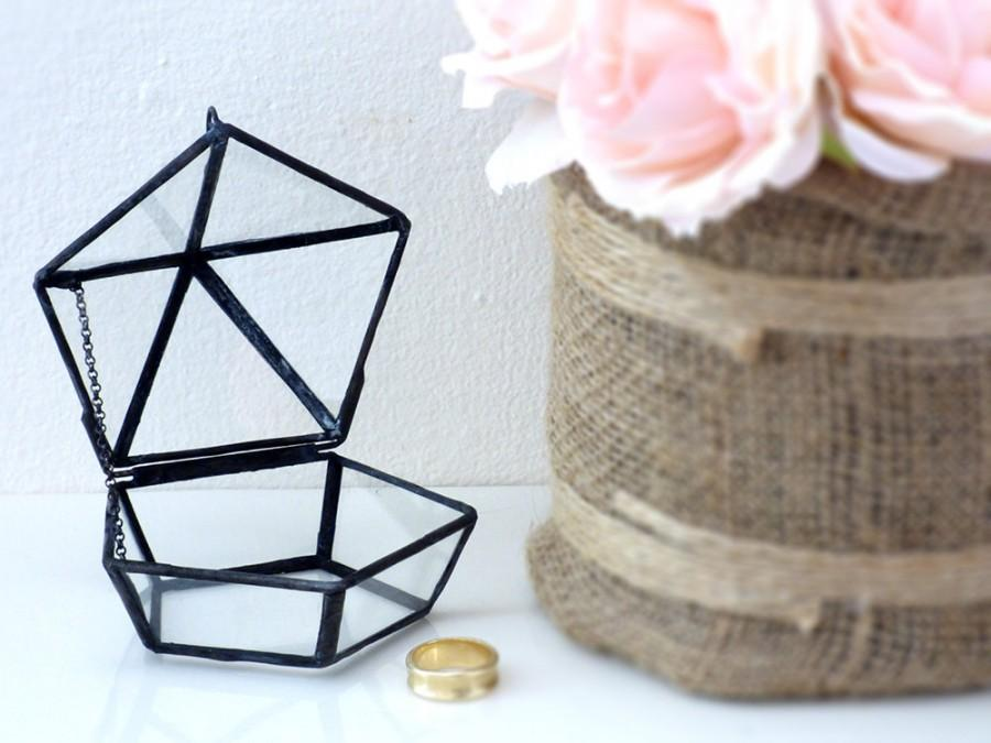 Wedding Ring Box Shabby Chic Style Mini Geometric Use As A Bearer Jewelry Holder Or Glass