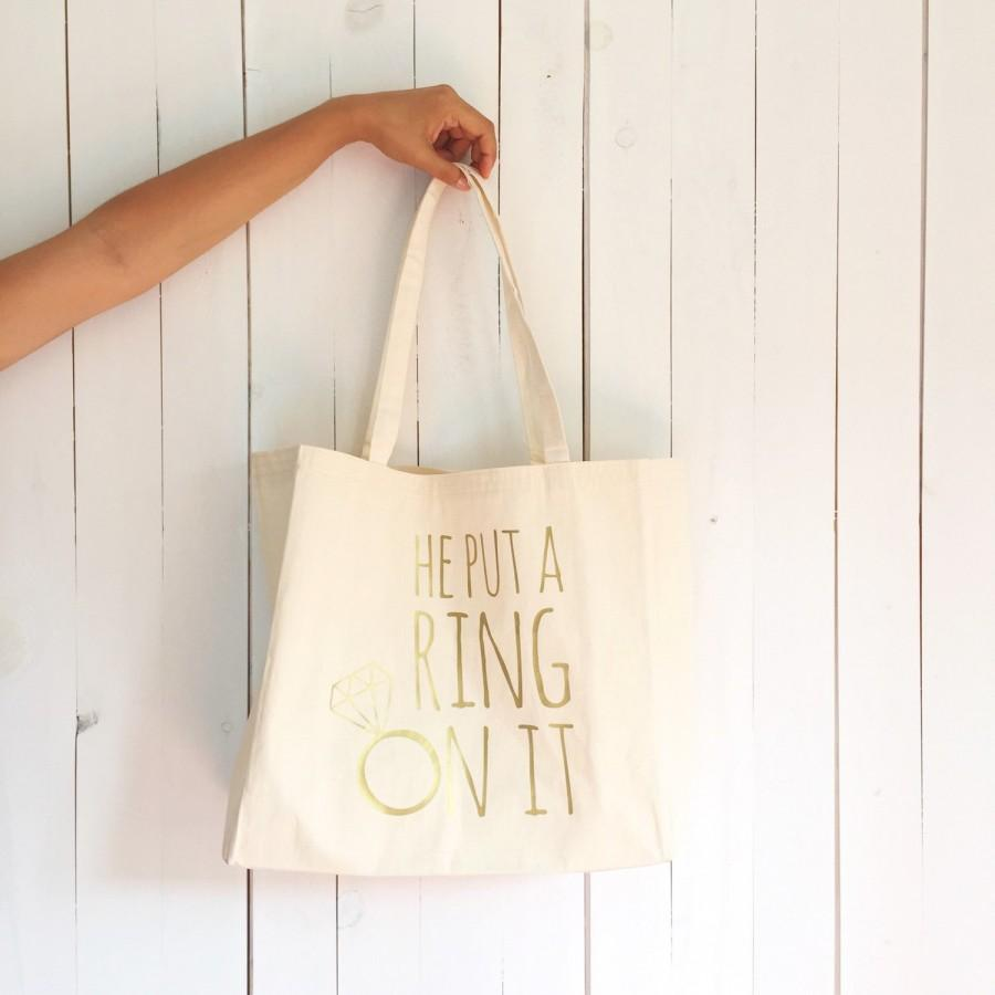 Custom Wedding Tote Bag He Put A Ring On It Bachelorette Bridal Beach Bridesmaid Canvas Favor