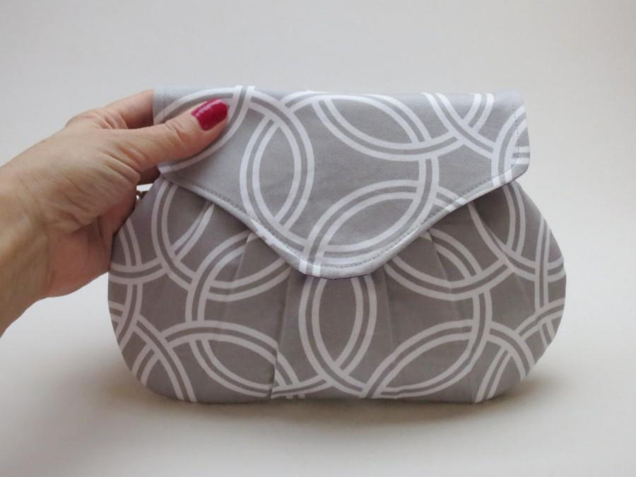 Hochzeit - Gray Bridesmaids Clutch, Wedding Purse, Small Handbag
