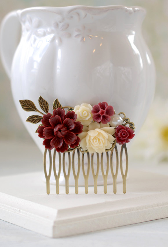 Mariage - Maroon Burgundy Marsala Dark Red Ivory Flowers Hair Comb Brass Leaf Hair Comb, Burgundy Maroon Wedding Hair Accessory, Bridal Hair Comb