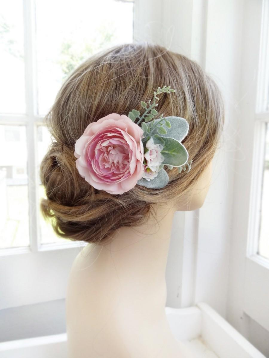 Pink Hair Flower Bridal Clip Wedding Headpiece Peony Hairpiece Floral Accessories