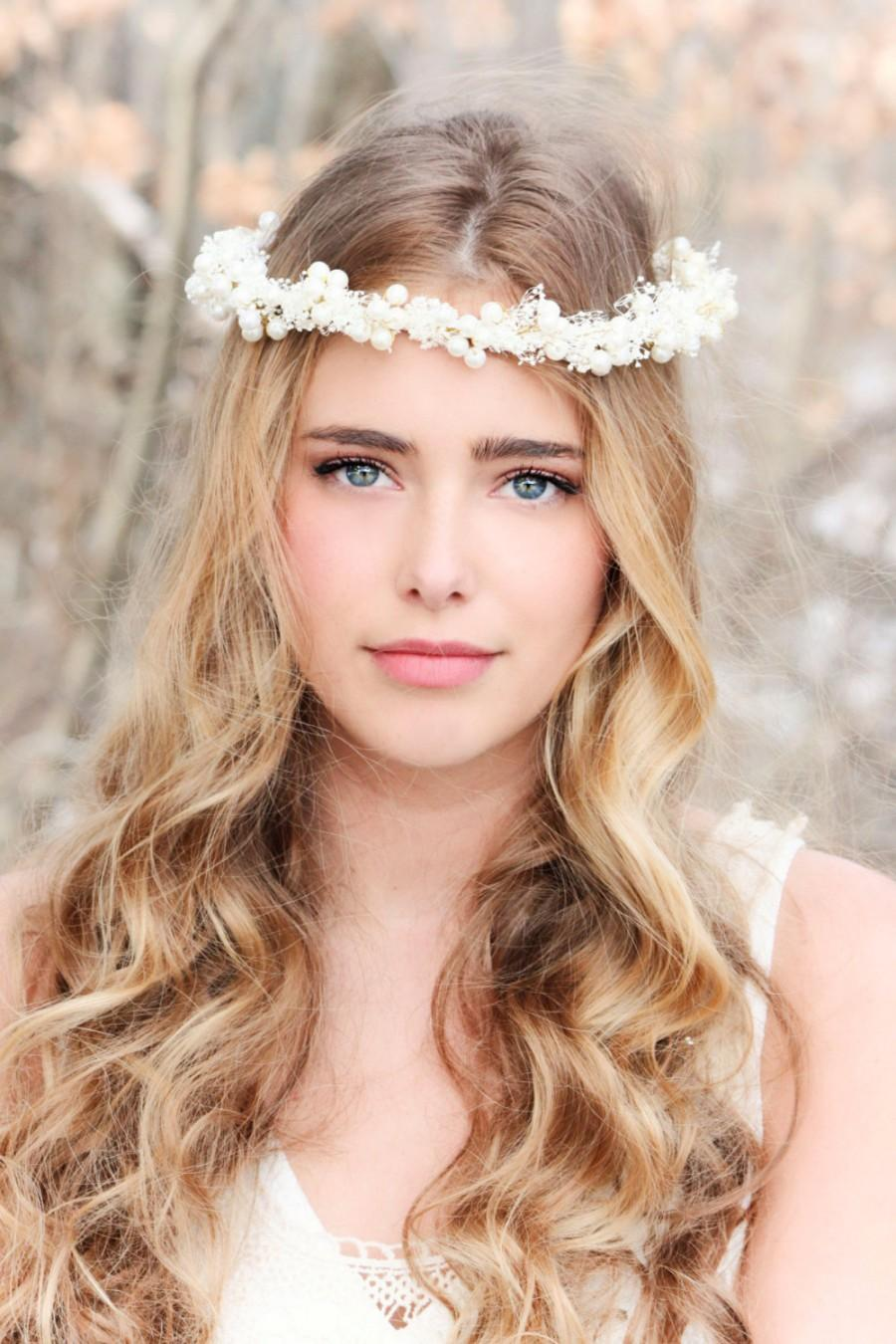 Flower And Pearl Hair Crown Headpiece Wedding Headband Bridal Accessories