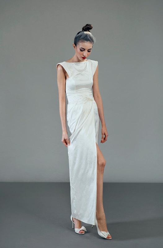 Wedding - Futura two-piece ivory silk wedding dress ensemble freshwater pearls adorned urban non traditional alternative