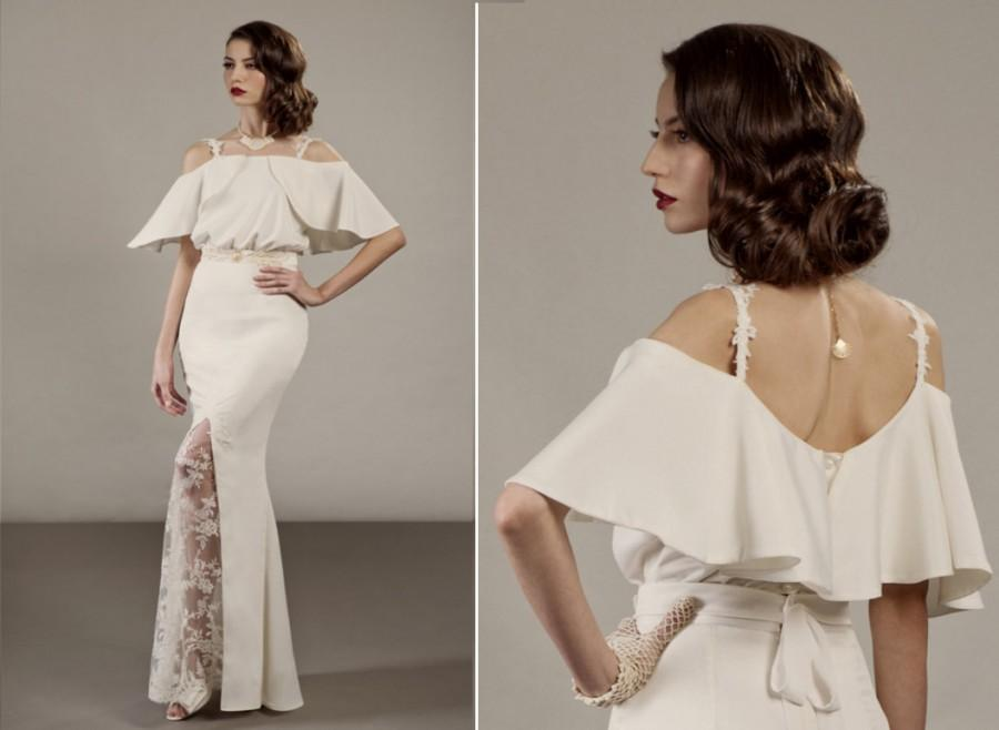 Veronica Two Piece Unique Wedding Dress Ensemble In Ivory Glamorous 30 S Hollywood Vintage Inspired