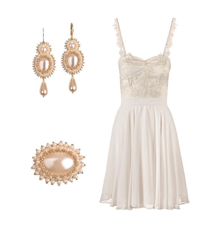 Fiore Short Wedding Or Bridal Shower Dress Ensemble Including Matching Earrings And Brooch