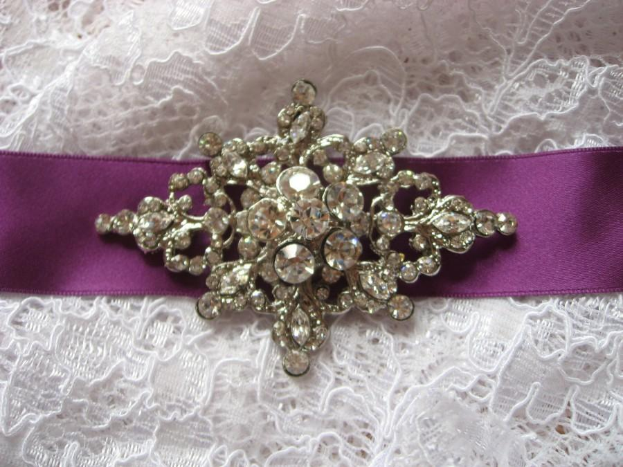 Wedding - Large Victorian style bling wedding bridal rhinestone crystals and Swarovski pearls dress buckle belt hair sash