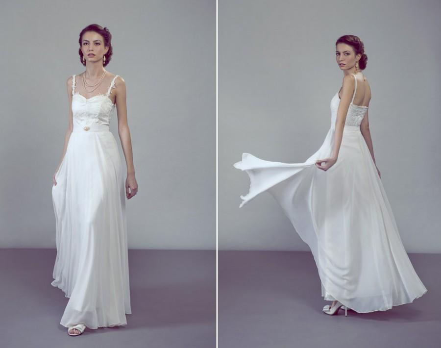 Свадьба - Perla two-piece wedding dress ensemble lace top chiffon skirt