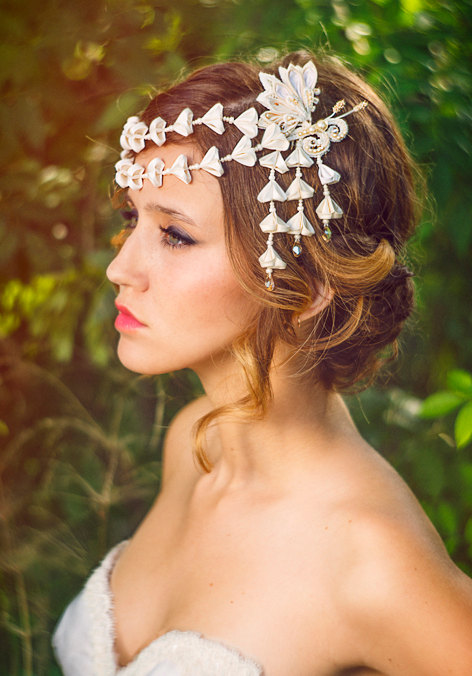 Mariage - Chloris Ivory & Honey Bridal Headpiece Silk Flowers Butterfly Swarovski Crystals Hair Jewelry unique alternative