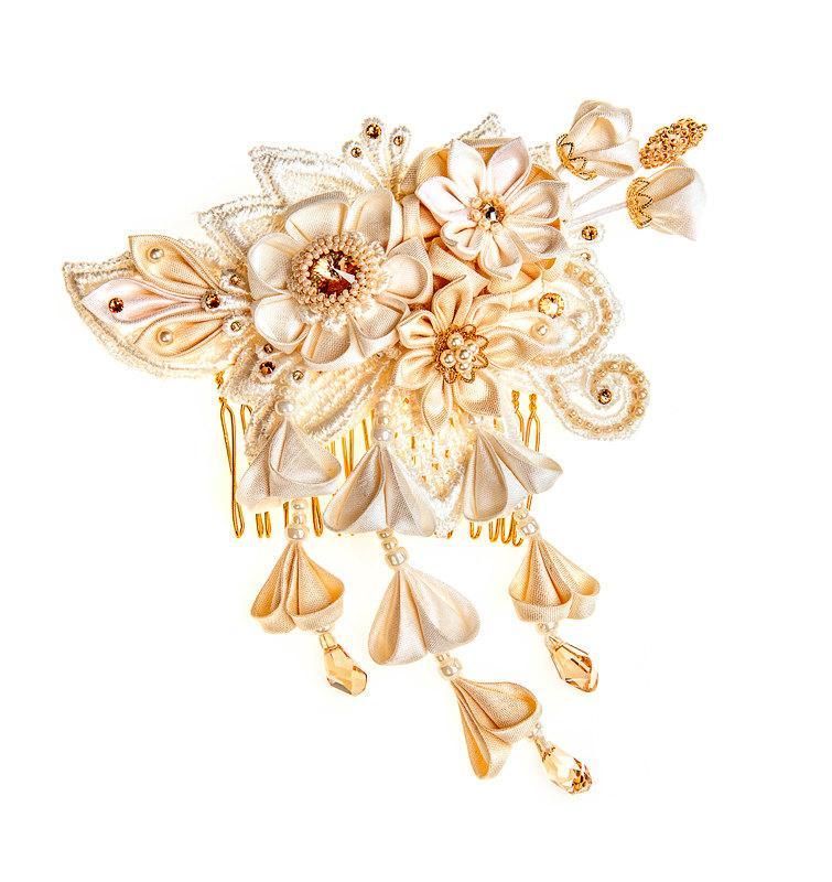 Mariage - Phoebe  Ivory & Honey Bridal Headpiece comb Silk Flowers Swarovski Crystals Hair Jewelry unique alternative