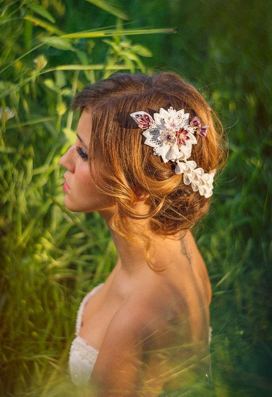 Wedding - Chloris Ivory & Wisteria Bridal Headpiece Silk Flowers Butterfly Swarovski Crystals Hair Jewelry unique alternative