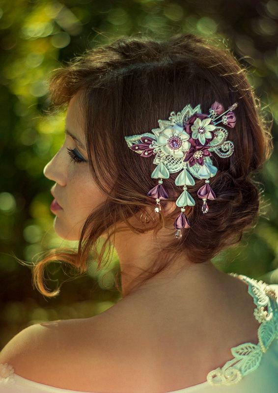 Wedding - Phoebe  Ivory & Wisteria Bridal Headpiece comb Silk Flowers Swarovski Crystals Hair Jewelry unique alternative