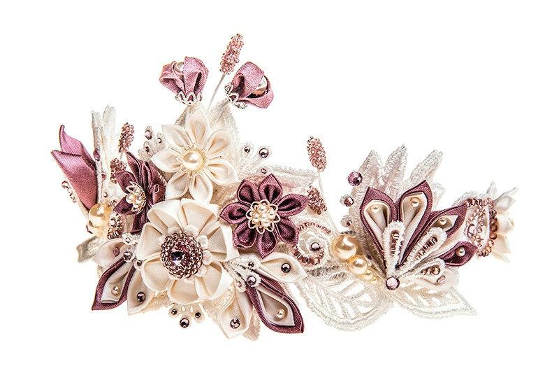 Helene Ivory   Wisteria Bridal Flower Crown Tiara Silk Flowers Swarovski  Crystals Hair Jewelry unique alternative d5dd123800a