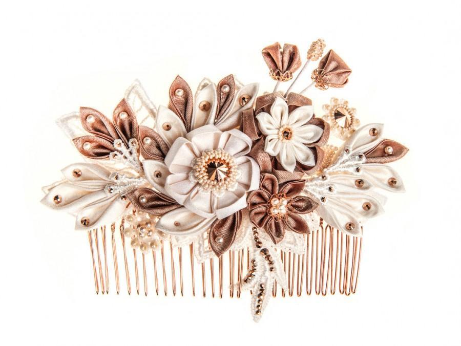Hochzeit - Maia Ivory, blush & rose gold Bridal Headpiece comb Silk Flowers Swarovski Crystals Hair Jewelry unique alternative