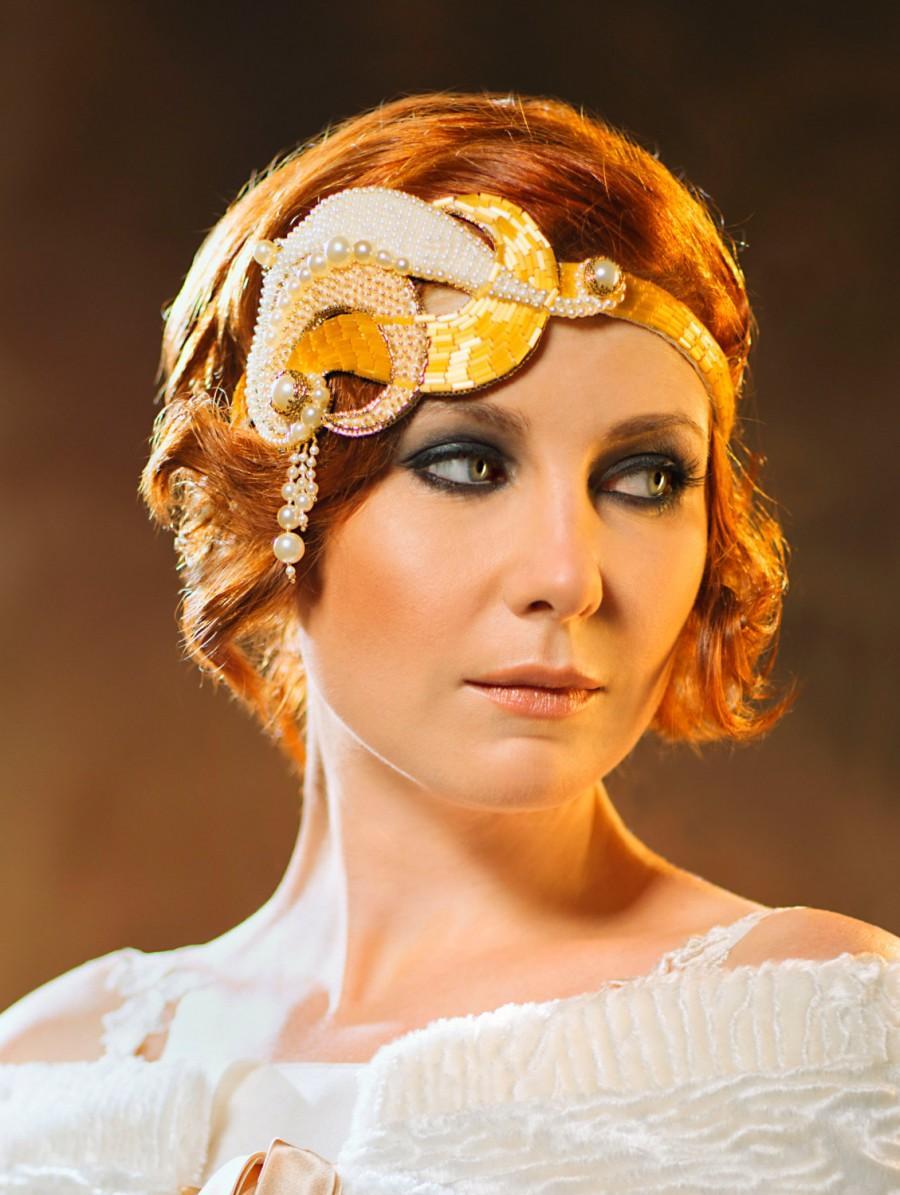 Свадьба - Isadora art deco unique bridal statement headpiece Great Gatsby vintage inspired headband pearl gold ivory