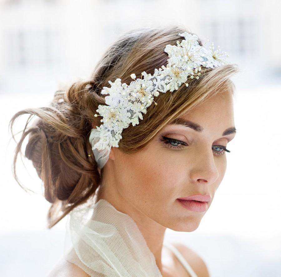 Mariage - Wedding lace halo. Lace hair vine wrap. Bohemian wedding hair accessory. Wedding hair crown. Wedding hair vine.  Wedding headband ribbon.