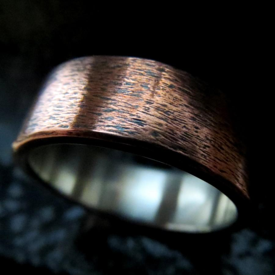 Mariage - Mens Wedding Ring Unusual Rustic Steampunk Subtle Texture Copper and Fine Silver Band 8mm Design 0101CS