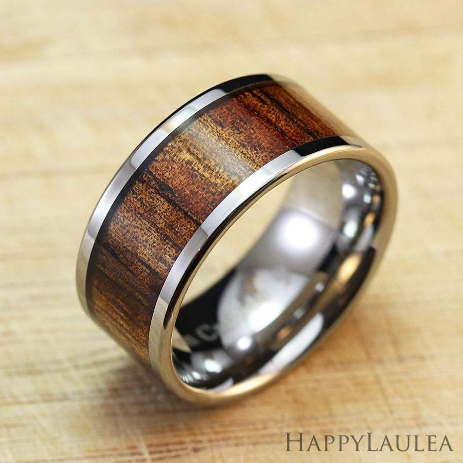 Mariage - Tungsten Carbide Ring with Koa Wood Inlay (10mm width, flat style polish edges)