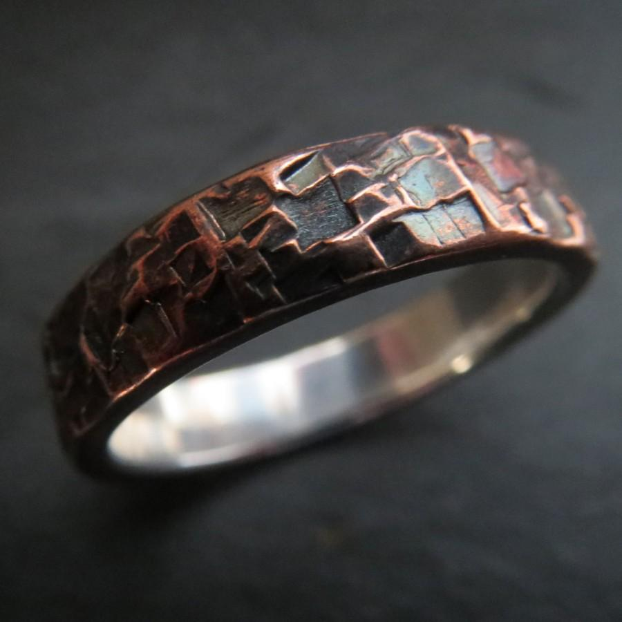 Mariage - Mens Ring Wedding Unusual Rustic Steampunk Hammered Copper and Fine Silver Band 6mm Design 062