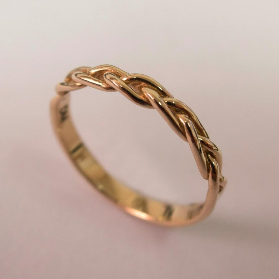 e4e06c22f Braided Ring No.4 - 14K Rose Gold Stackable Ring , Wedding Band , 14K Gold  Ring , rose gold , celtic ring, wedding band, mens band