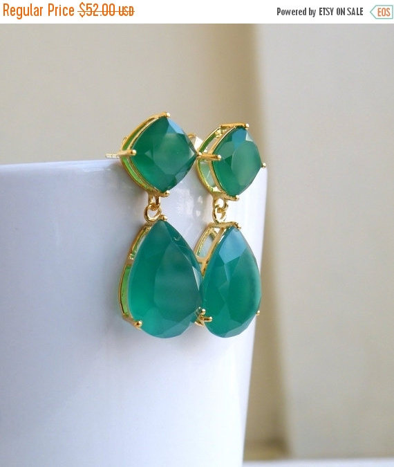21 Off Angelina Jolie Inspired Emerald Green Onyx Stone Gold Dangle Stud Earrings