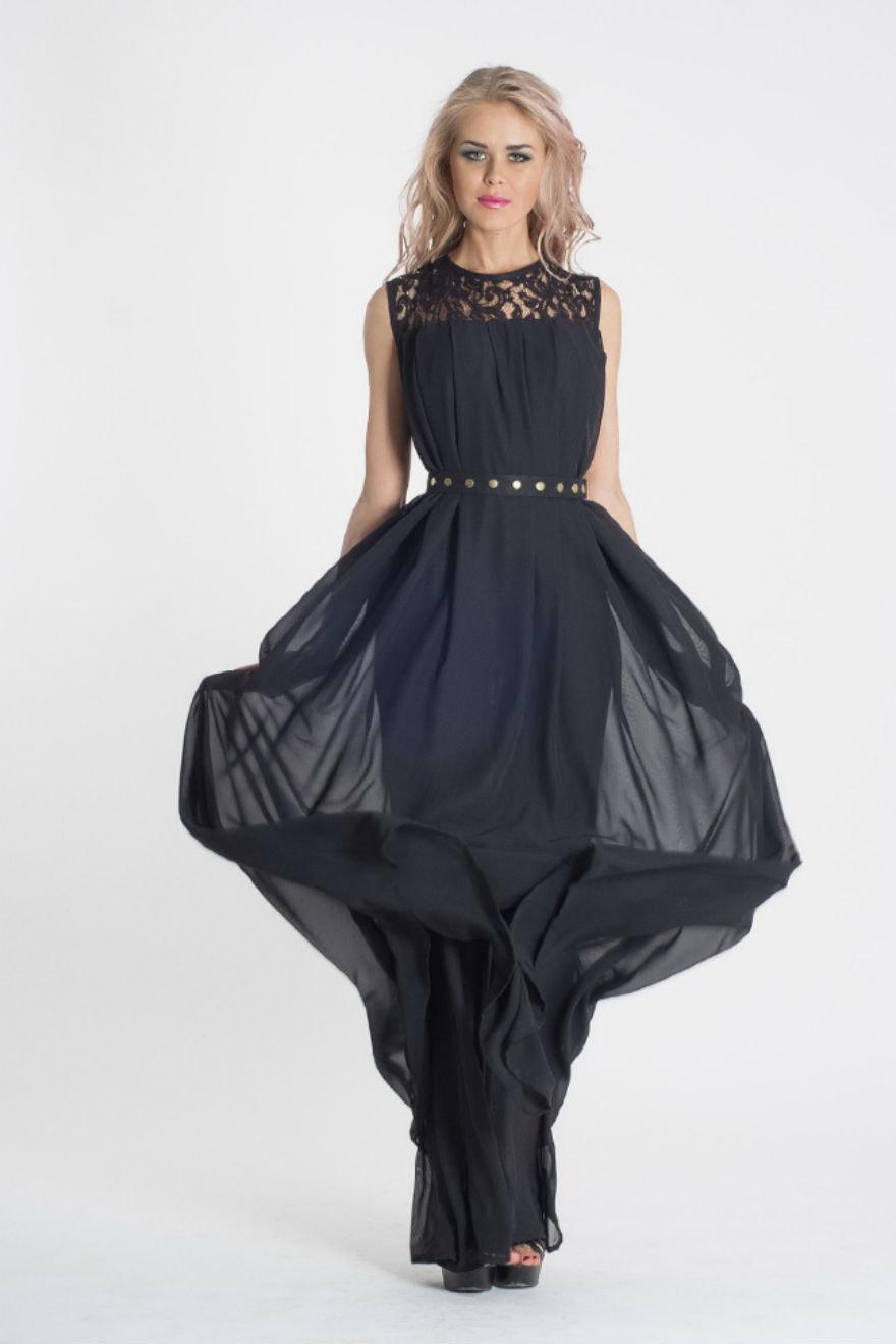 Mariage - Dark Blue Maxi Dress.Chiffon Evening Dress.Bridesmaid Lace Dress.