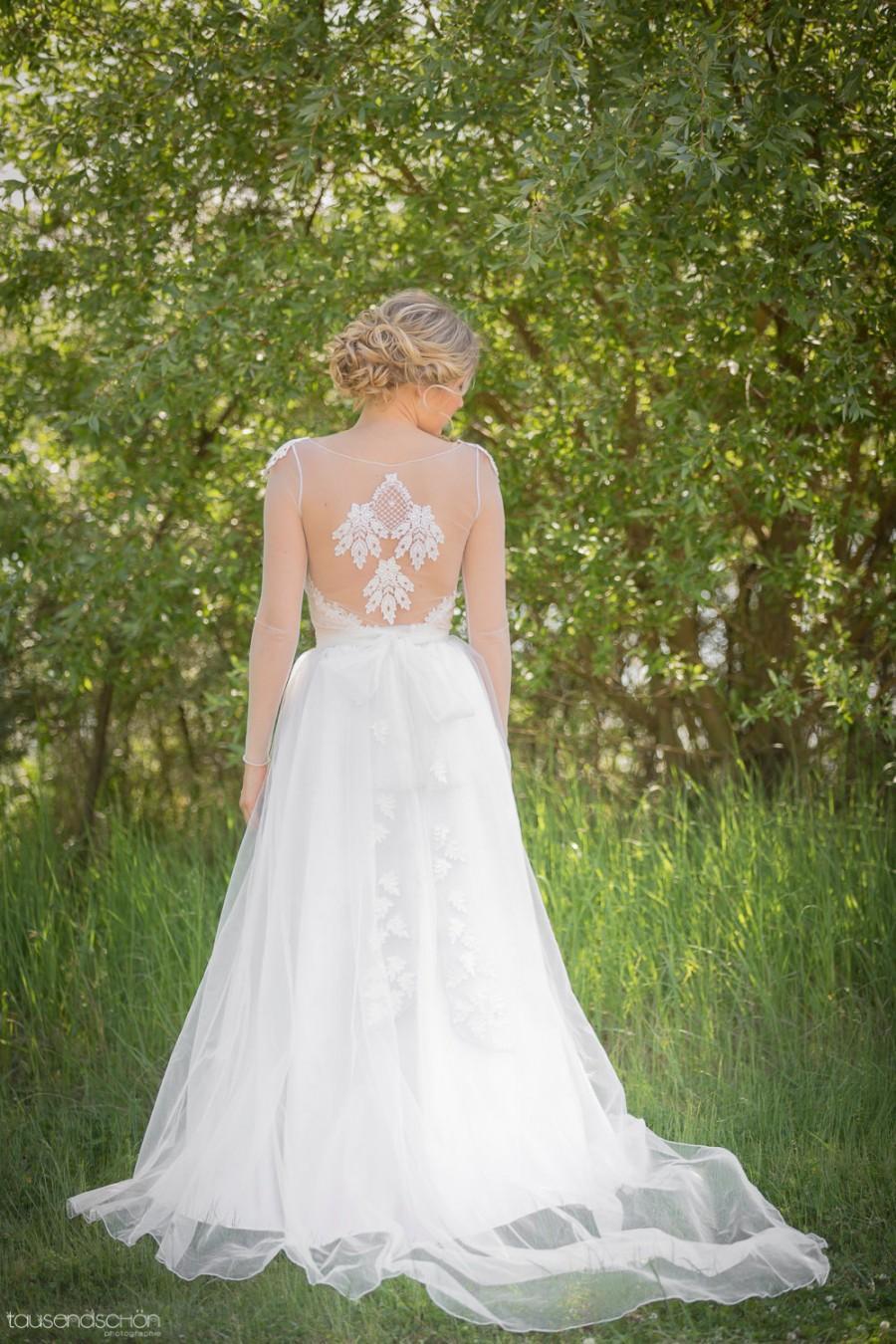 Noemi Unique Wedding Dress Boho Vintage Inspired Sleeved Dress Lace