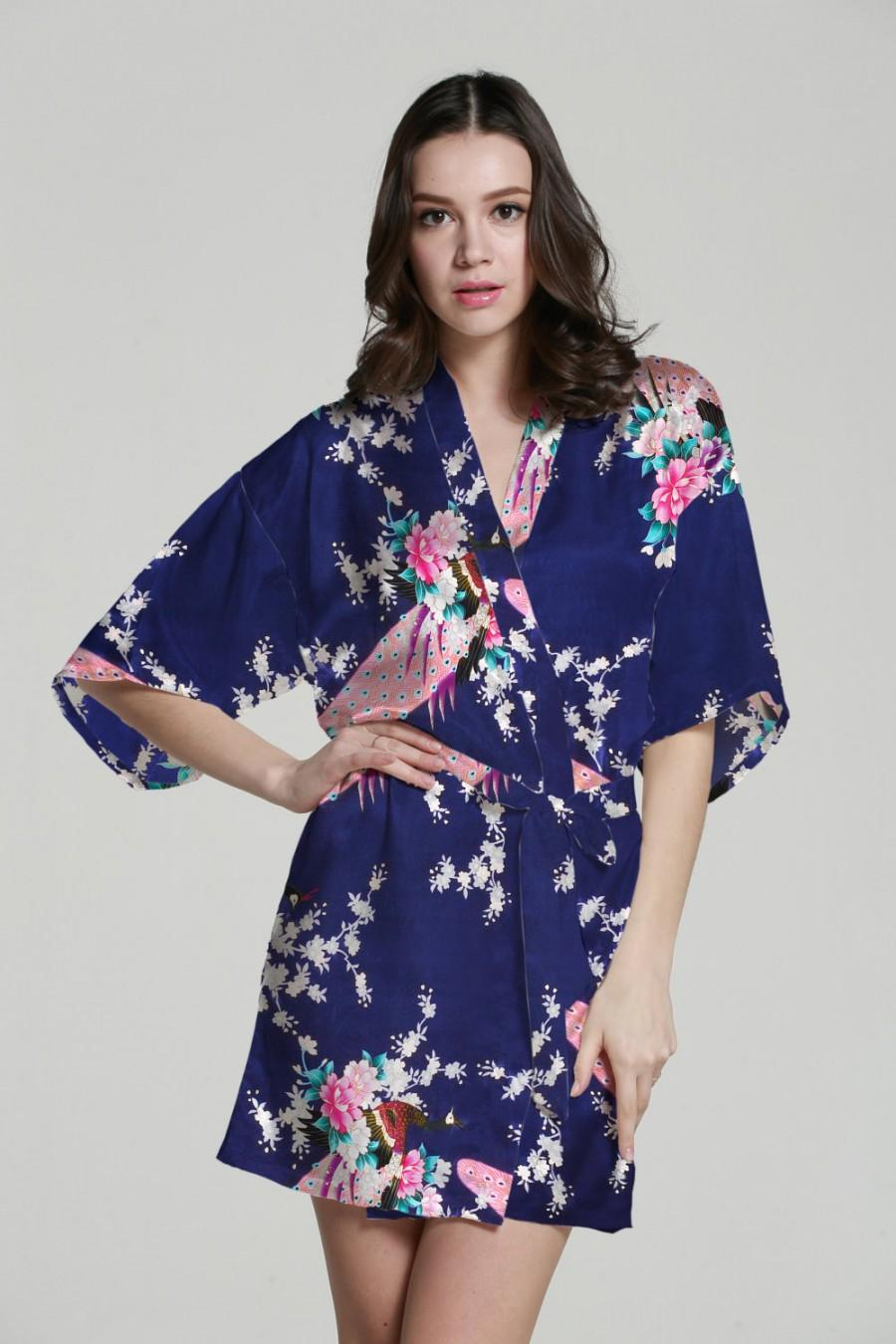 زفاف - Navy satin kimono wedding robes bridesmaids robes bride dresses personalized bridal robe sleepwear nightgown wedding party gifts