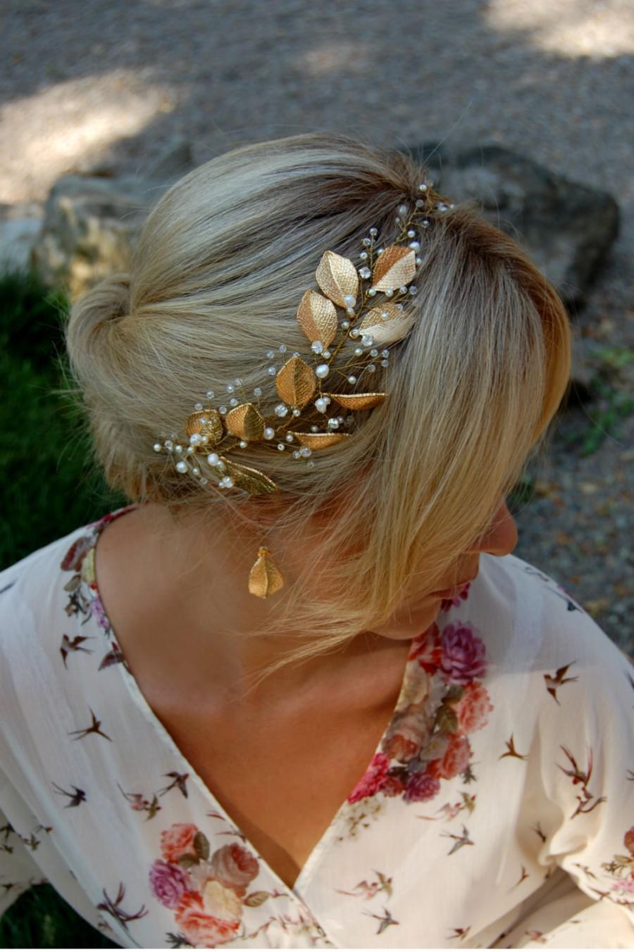 Mariage - wedding bridal crown, wedding bridal tiara wedding pearl tiara bridal halo gold tiara gold Headband Gold Leaf Tiara Gold Crown STYLE 015