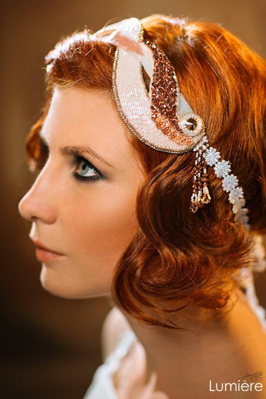 Boda - Rosalie art deco unique bridal headpiece Great Gatsby vintage inspired headband rose-gold blush and white