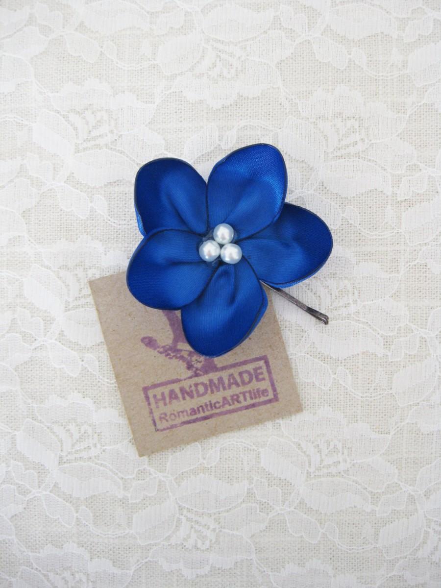 Mariage - Navy Blue Bridesmaids Flower Hair Pin. Navy Blue Flower Pin. Flower Hair Accessory.