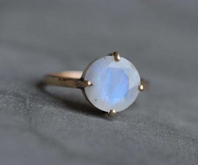Mariage - Rainbow moonstone Ring - 18k Moonstone ring - Valentines day - wedding ring - gold ring - solitaire ring