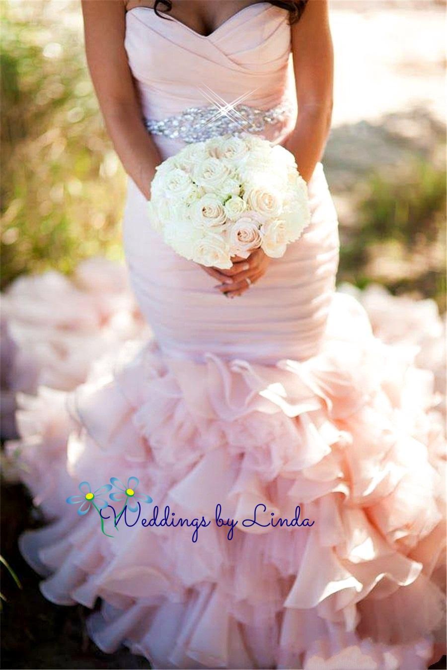 Pink Wedding Dresses Mermaid Style : Wedding blush pink mermaid dresses ruched ruffles