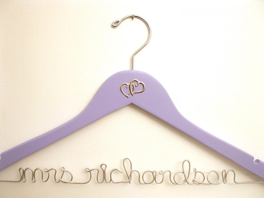 Свадьба - Two Hearts Custom Wedding Dress Hanger - Lavender / Light Purple Shown - Suspended Moments