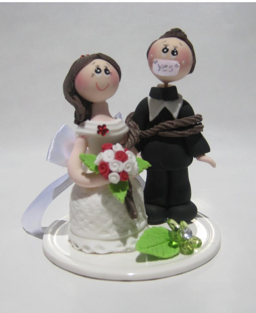 Wedding Cake Topper Funny Groom Tied Up By Bride