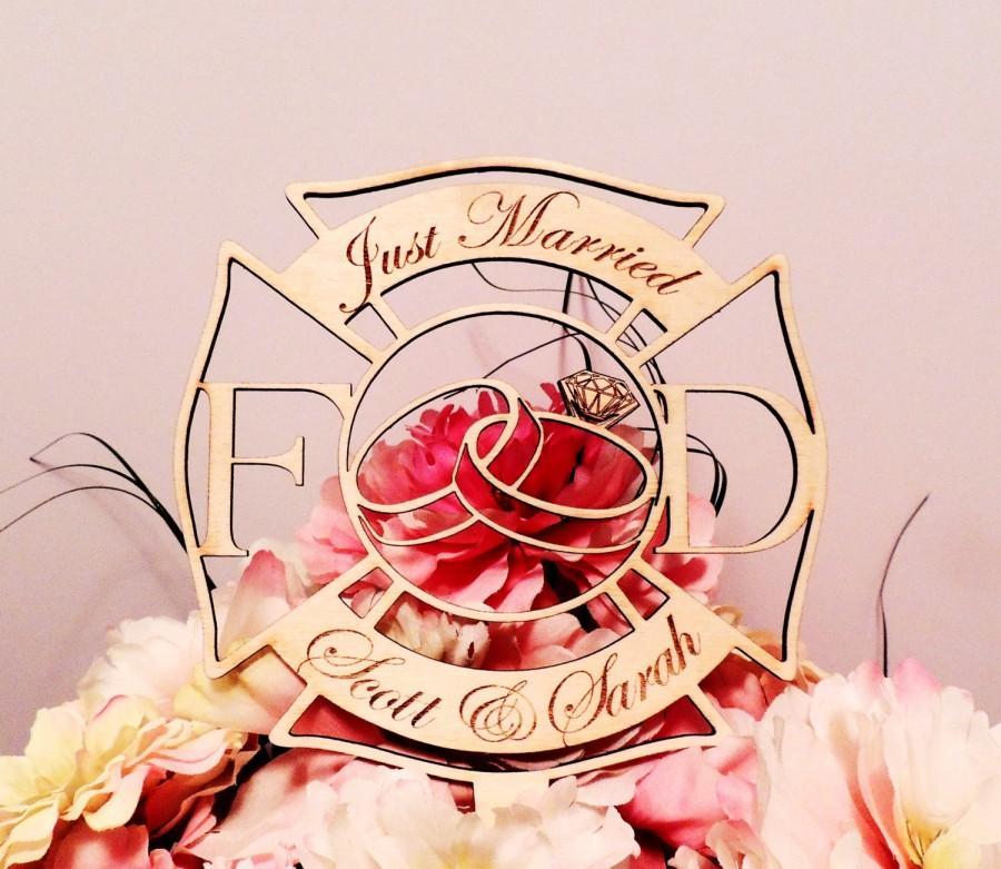 Decor - Firefighter Wedding Crest Cake Topper #2424298 - Weddbook