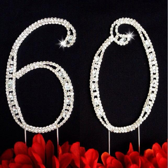 60th Birthday Wedding Anniversary Number Cake Topper Large Rhinestone Crystals Decorations
