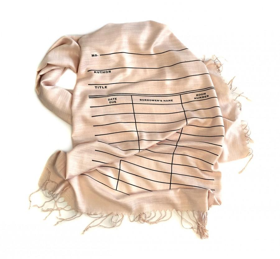 Mariage - Book scarf. Library Card Scarf. Date Due Slip linen weave pashmina. Blush pink scarf & more. Librarian, writer, library science gift.